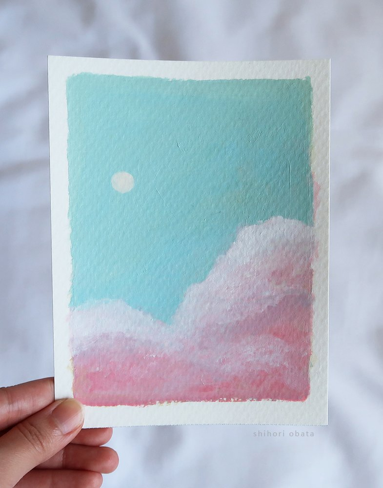 pink clouds acrylic painting easy