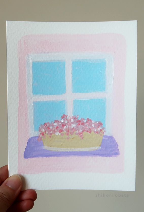 window flower painting easy
