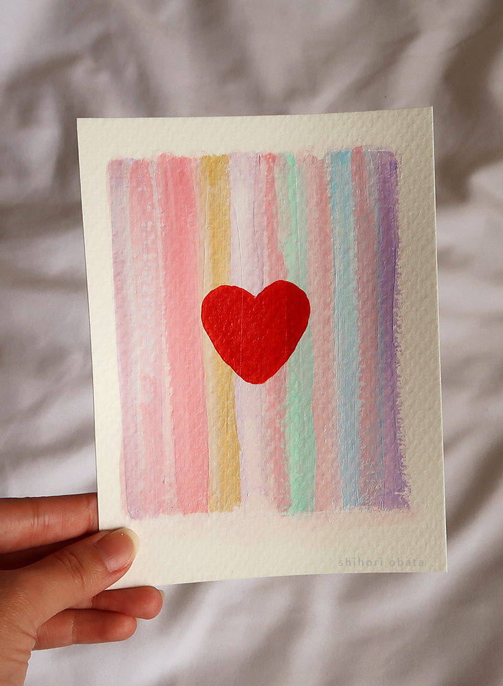 heart stripes acrylic painting easy