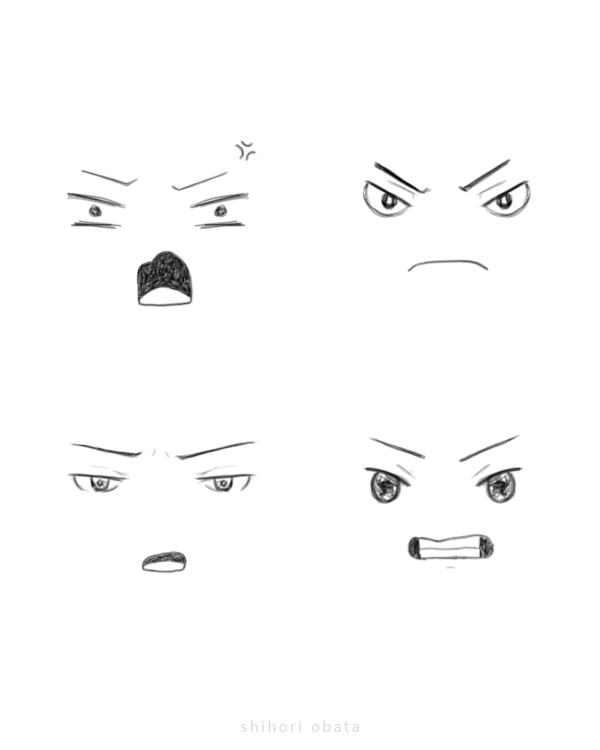 how to draw angry faces