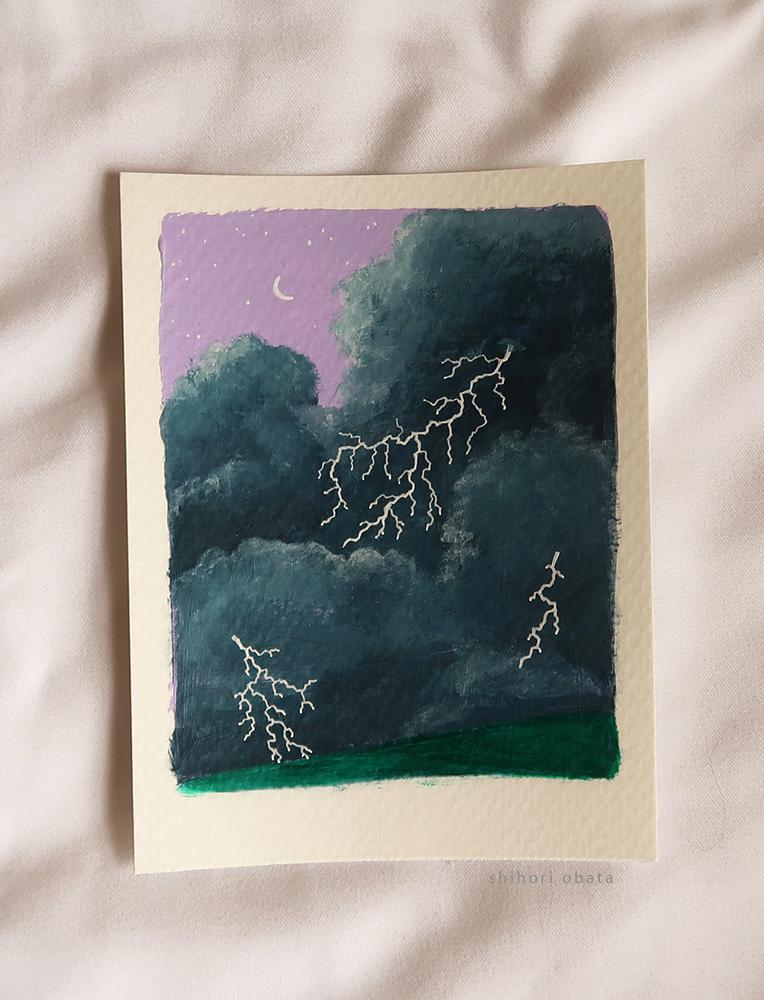 lightning storm acrylic painting