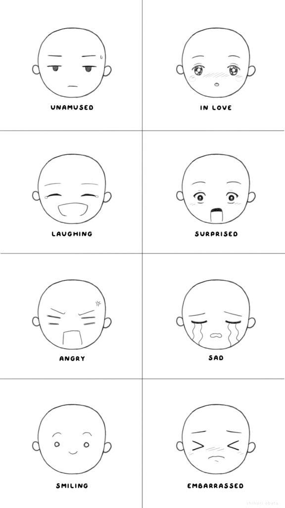 more facial expressions chibi cartoon manga