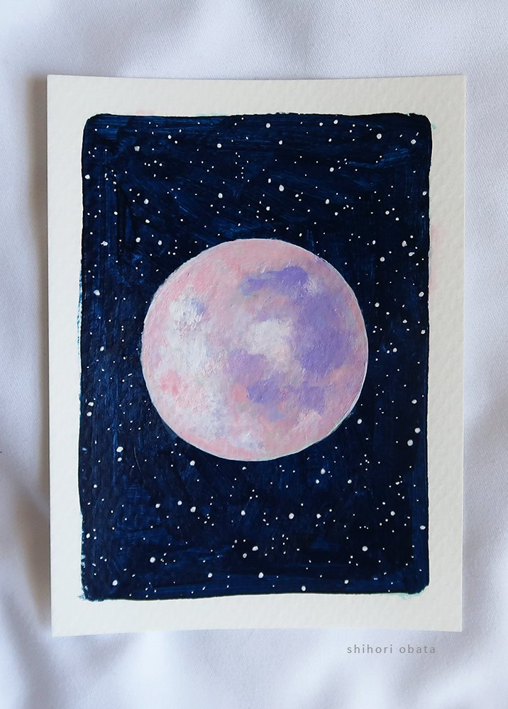 pink moon painting easy