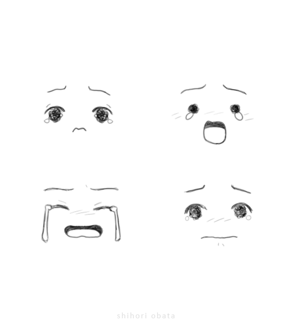 how to draw sad crying faces