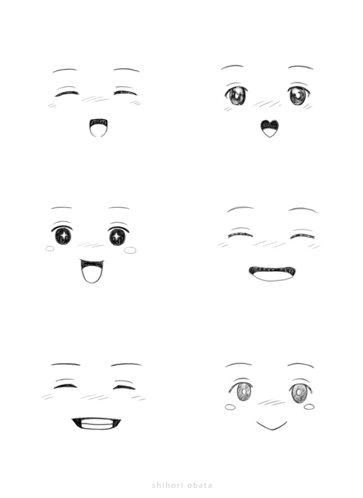 how to draw smiling happy faces anime chibi