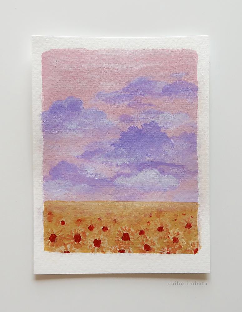easy sunflower painting field landscape