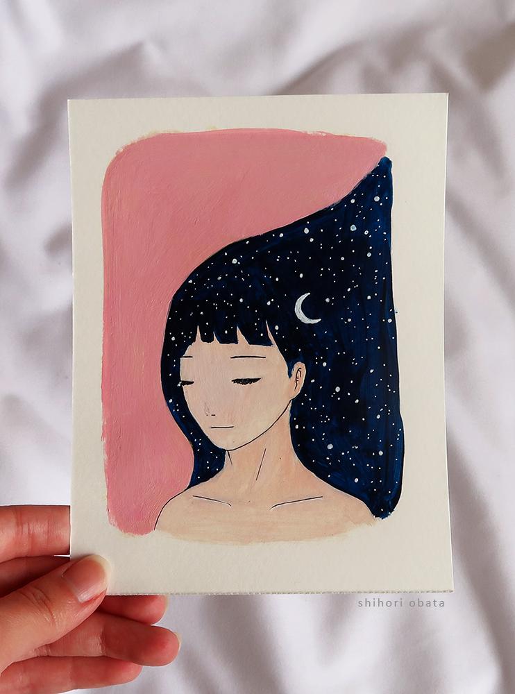 girl universe acrylic painting easy