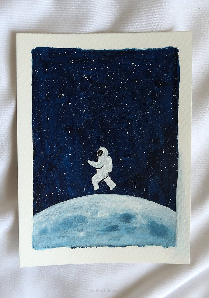 astronaut space painting