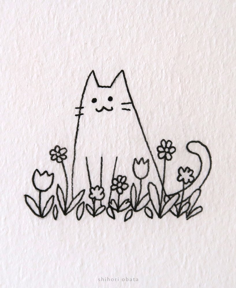 cat and flowers drawing