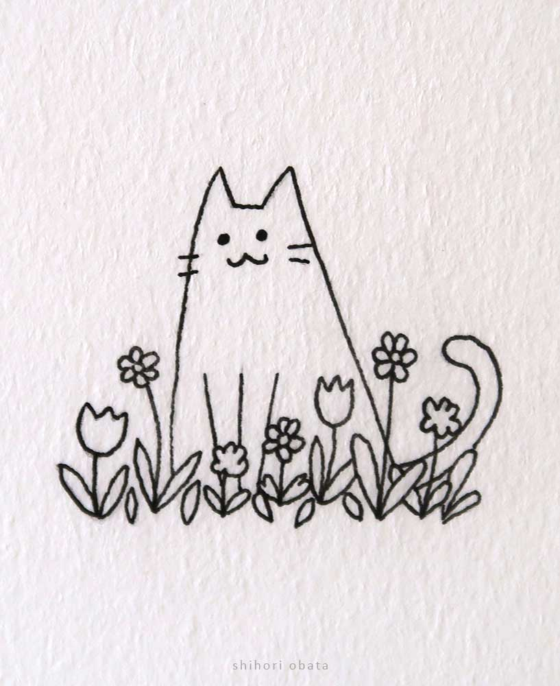 cat and flowers drawing cute