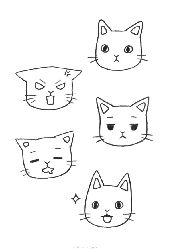 cat facial expressions drawing