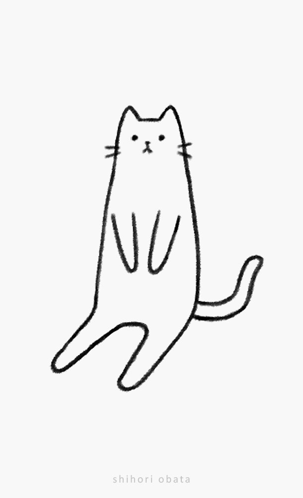 cat sitting easy drawing