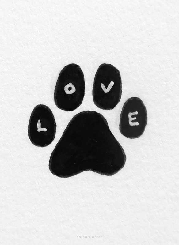 dog paw print art drawing