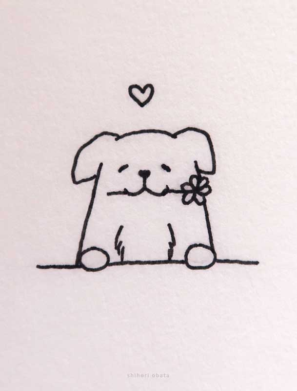 dog and flower drawing