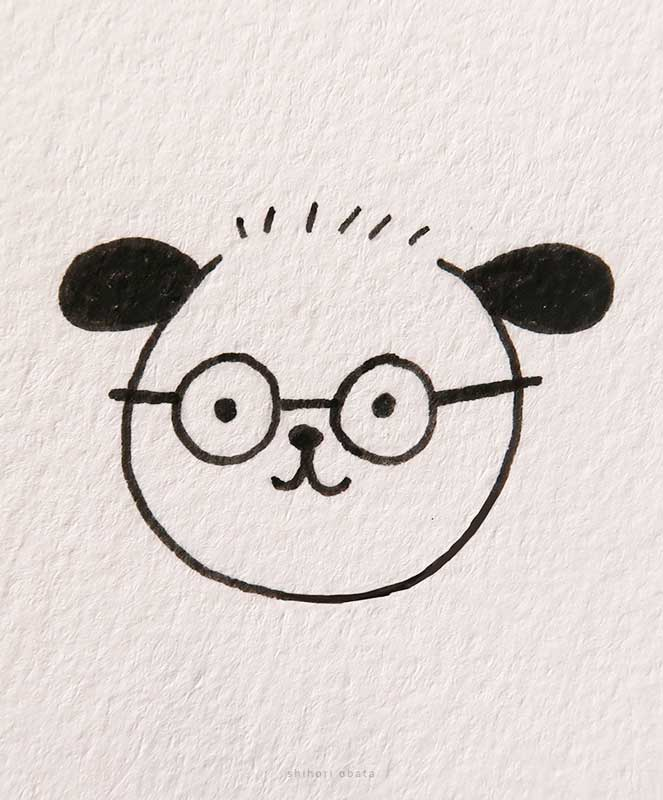 dog with glasses drawing