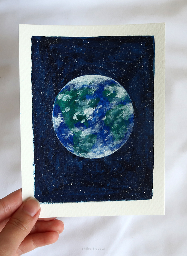 earth painting easy planet