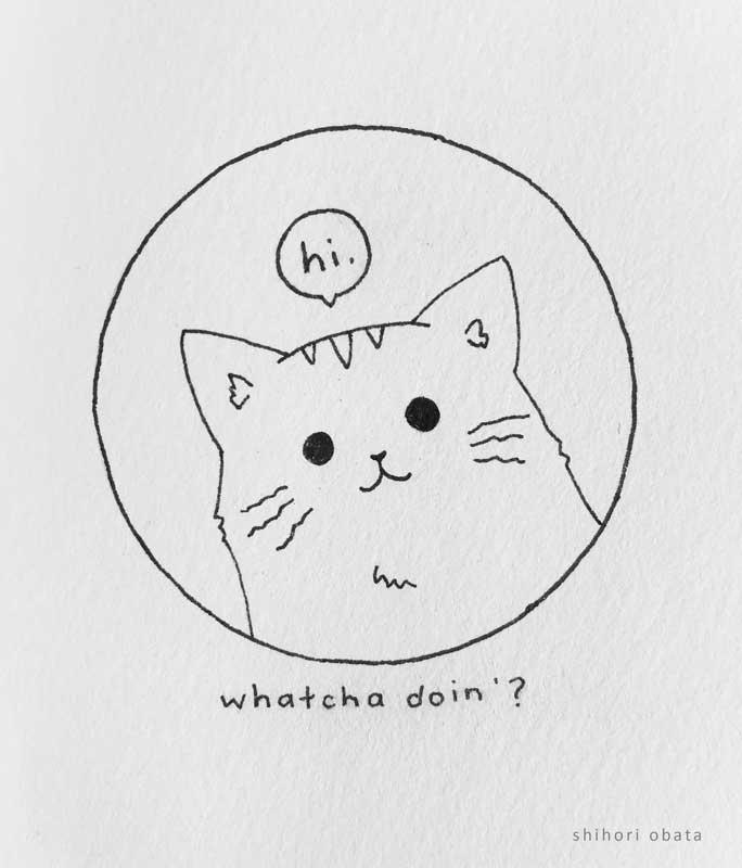 easy cat drawing circle