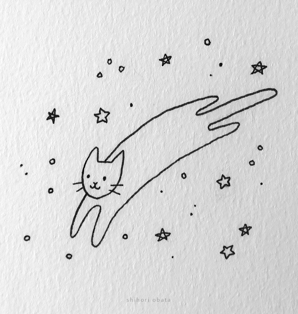 easy cat drawing stars