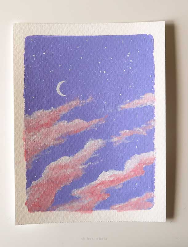 purple sky painting clouds