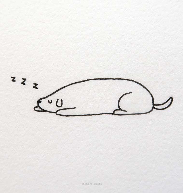 sleeping dog art drawing