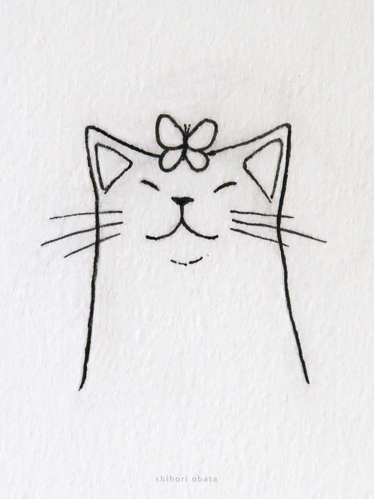 smiling cat butterfly drawing