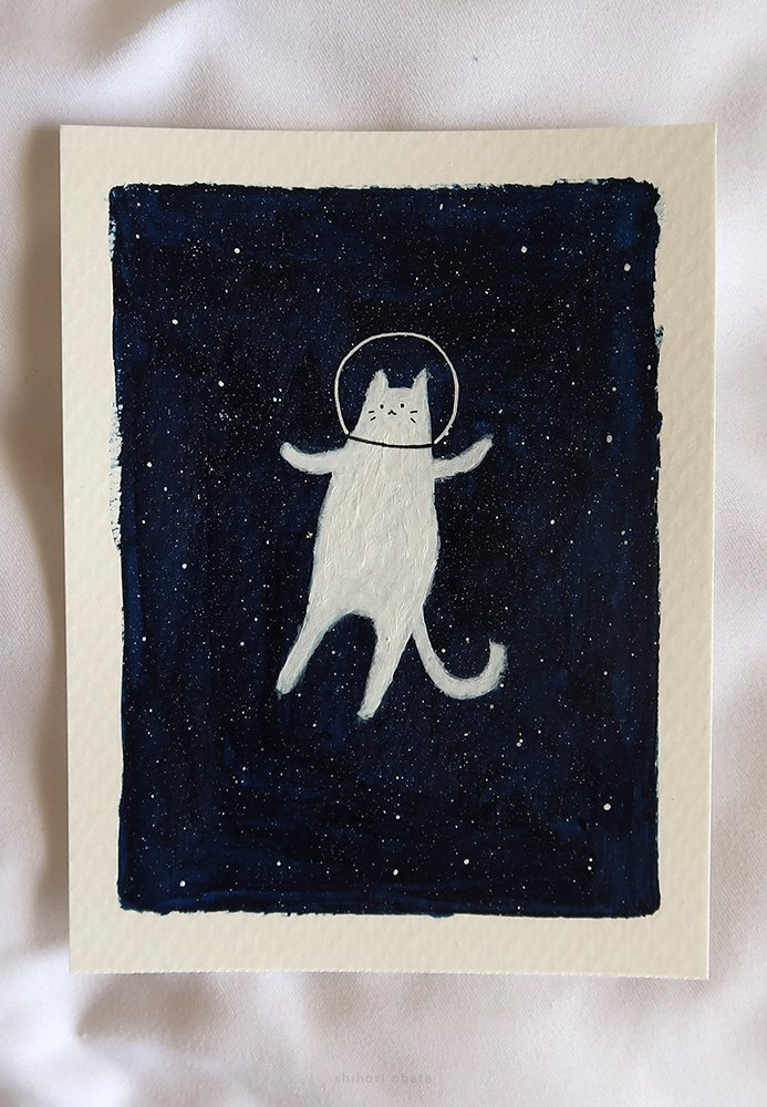 space cat painting