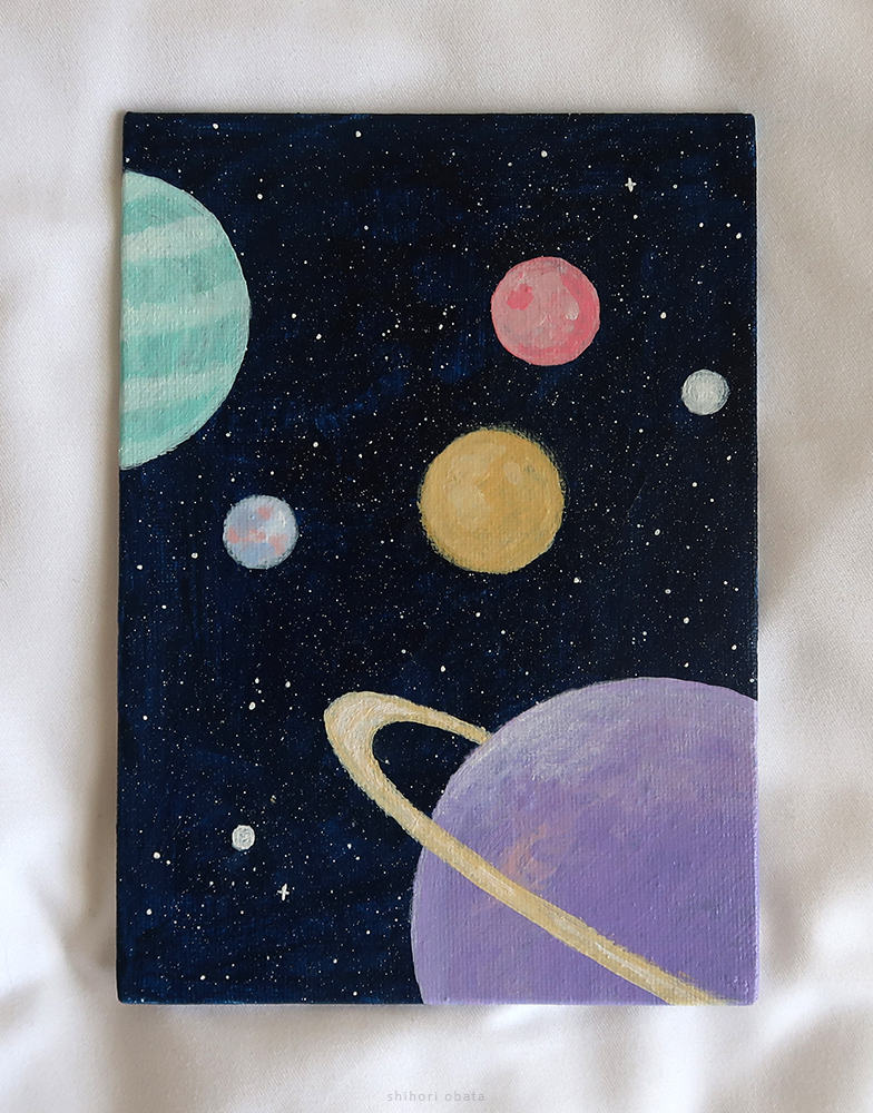 outer space planets painting easy