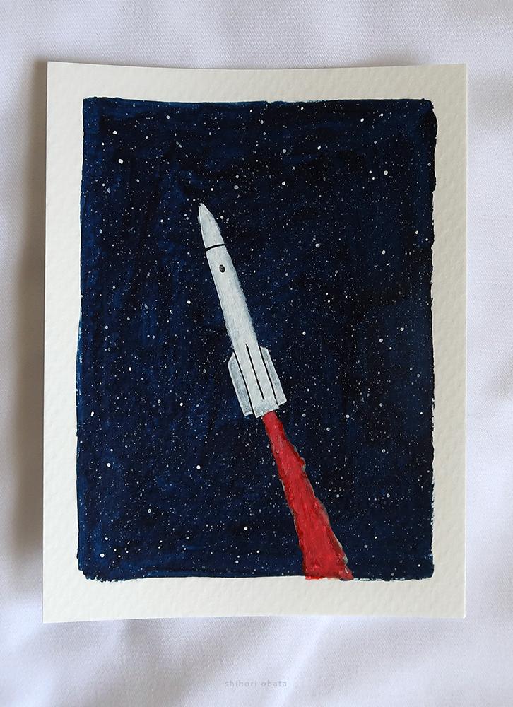rocket ship spaceship painting