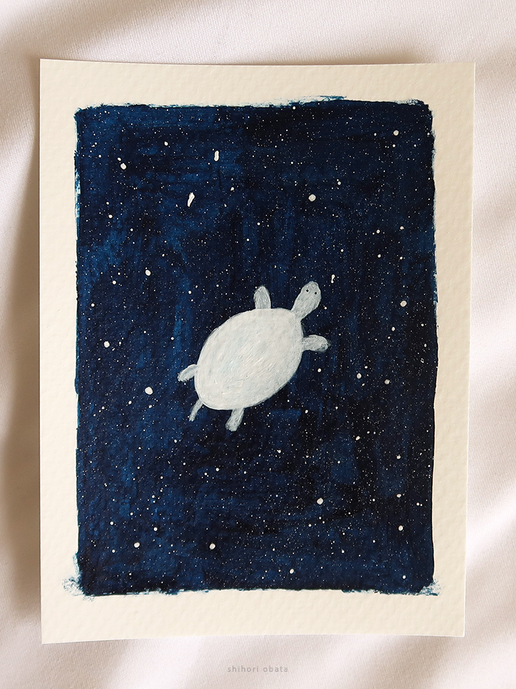 outer space turtle painting