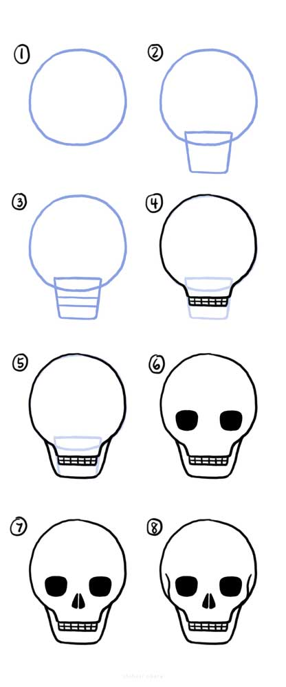 step by step skull drawing easy