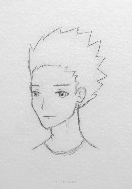spikey hair anime boy drawing