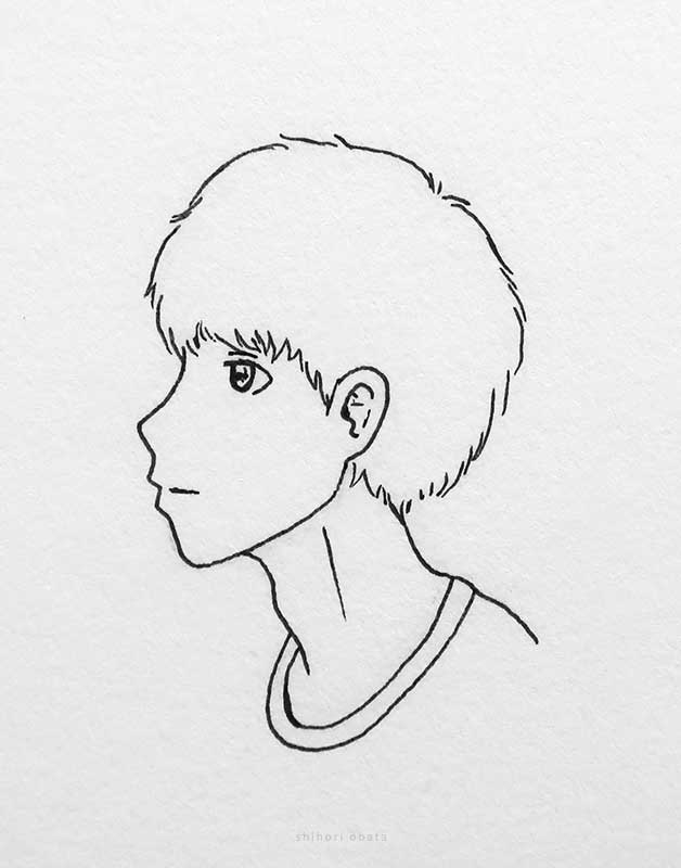 anime boy drawing side profile