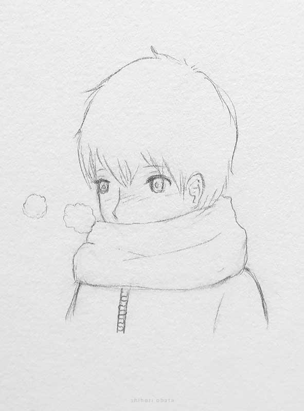 scarf anime boy drawing