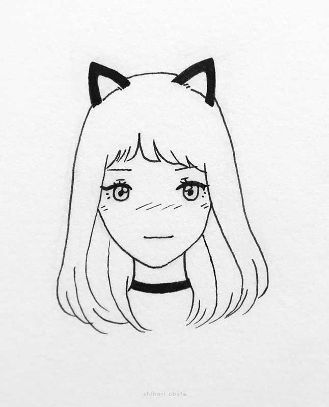 anime girl with cat ears drawing