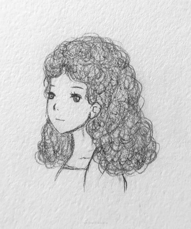 curly hair anime girl