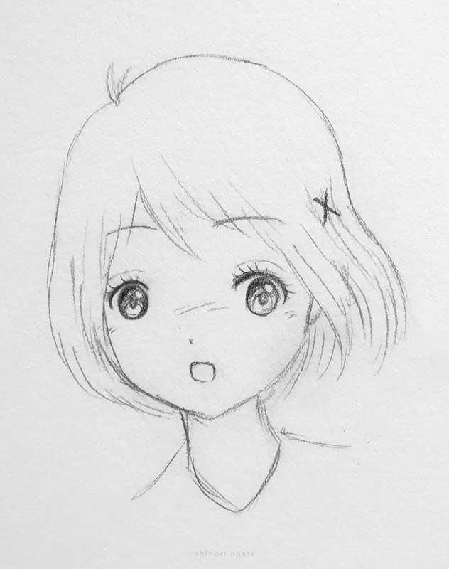 big eyes cute anime girl drawing