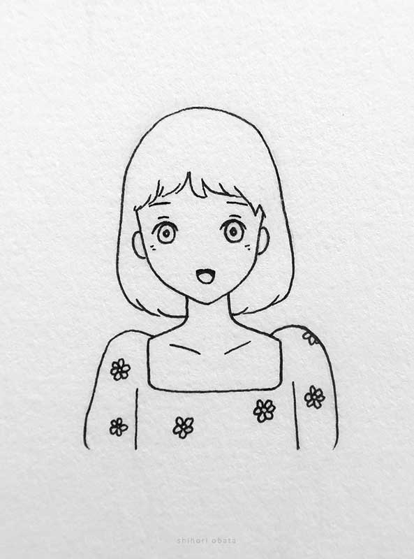 anime girl drawing easy