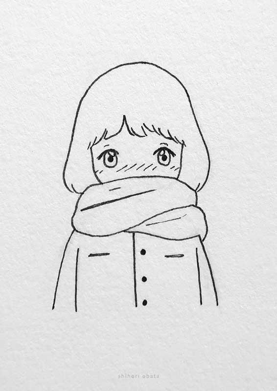 scarf anime girl drawing