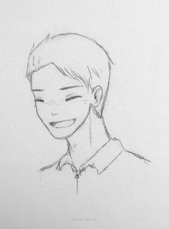 laughing anime male drawing