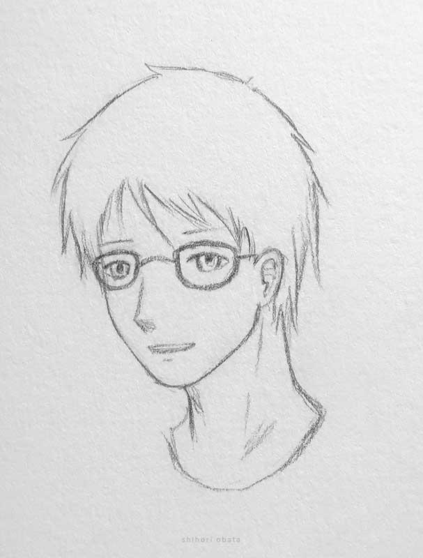 glasses anime boy drawing