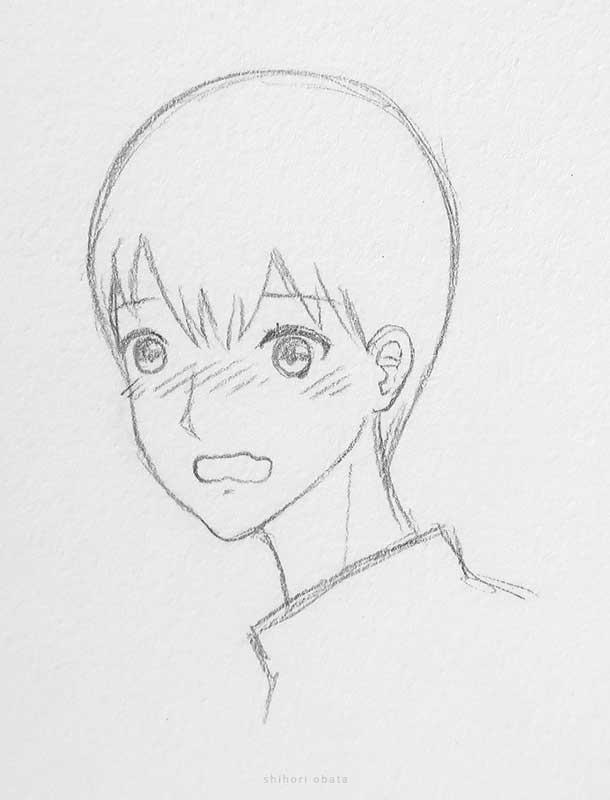 blushing anime boy drawing
