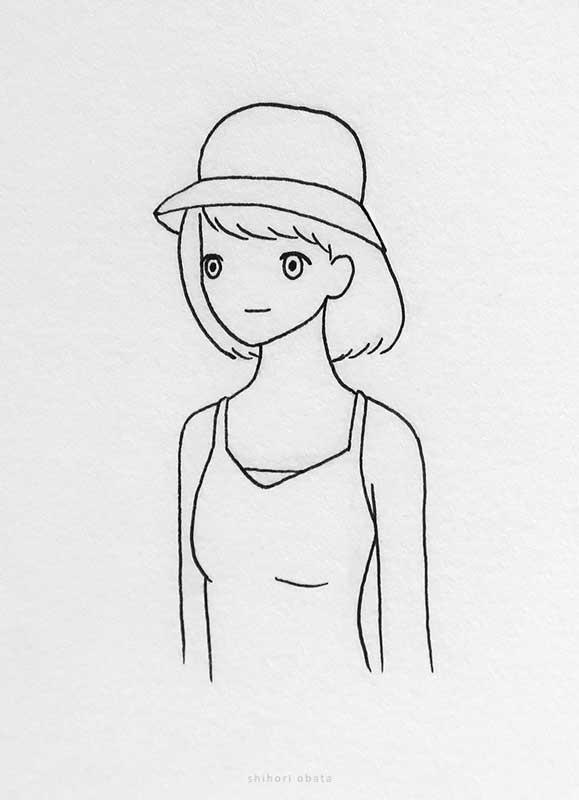 bucket hat girl drawing