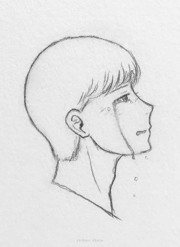 crying anime boy drawing