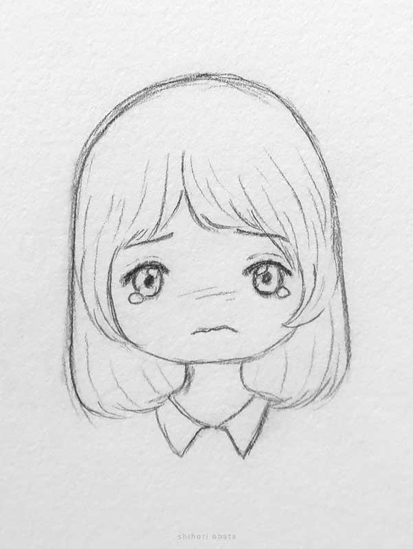 crying anime girl drawing