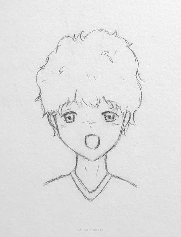 curly hair anime boy drawing