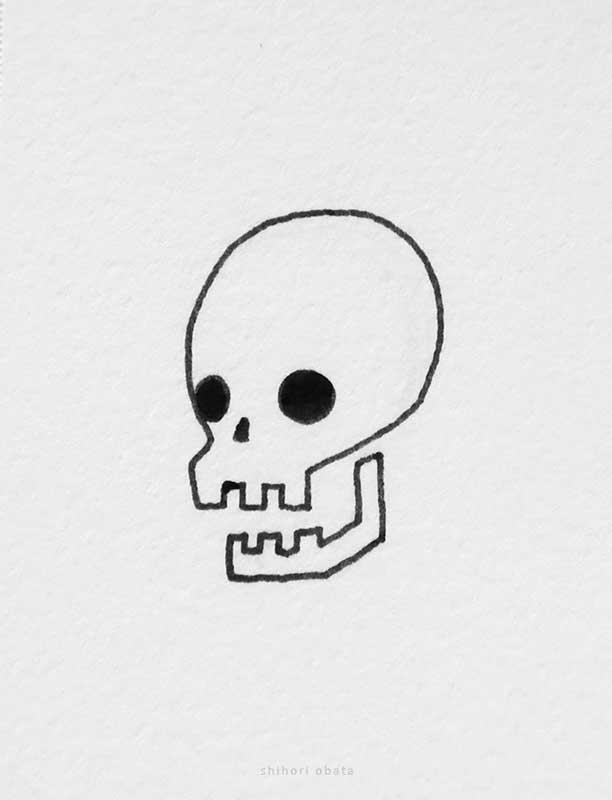 skull drawing easy