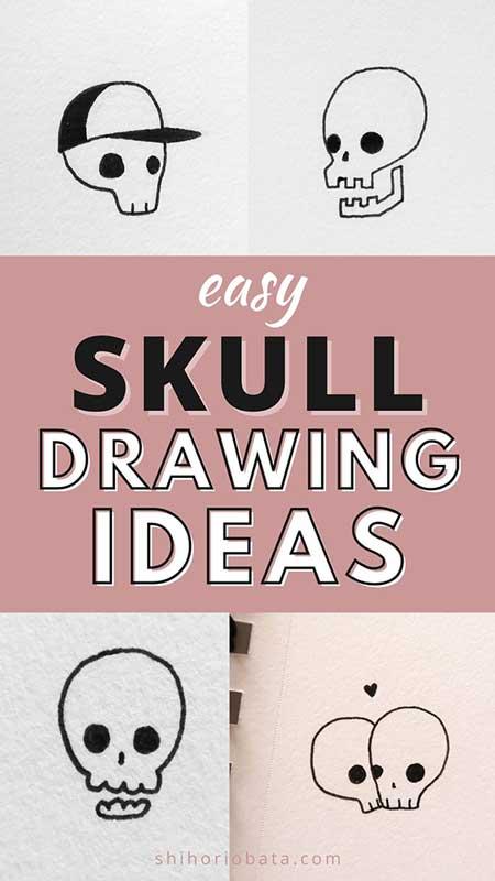 easy skull drawing ideas