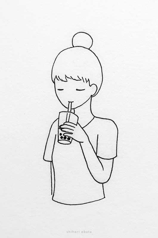 bubble tea girl drawing anime