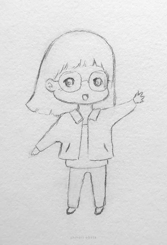 girl with glasses anime drawing