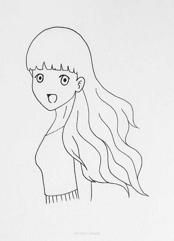 anime girl drawing wavy hair